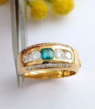 ANELLO IN ORO 18KT  SMERALDO E DIAMANTI - 18KT SOLID GOLD EMERALD & DIAMOND RING