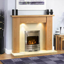ELECTRIC OAK SURROUND SILVER CREAM MARBLE FLAME FIRE FIREPLACE SUITE LIGHTS 54""