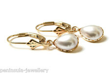 9ct Gold Pearl LeverBack Teardrop earrings, Gift Boxed, Made in UK