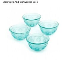 Pioneer Woman Adeline Turquoise Set of 4 Glass Bowls Glassware Dinner Bowl New