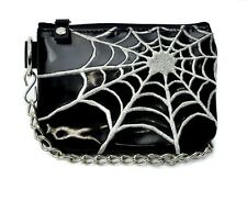 Spider Web Black Pvc & Silver Coin Purse Pouch Goth Punk Alternative Psychobilly