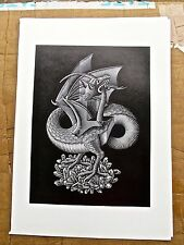 M C Escher  Dragons-Poster Reprint A Beast Biting it Own Tail 16x11 Offset Lith