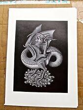 M.C. Escher  Dragons-Poster Reprint A Beast Biting it Own Tail 16x11 Offset Lith