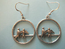 HANDMADE STERLING/TIBETAN SILVER BIRDS ON PERCH EARRINGS FREE ORGANZA GIFT BAG
