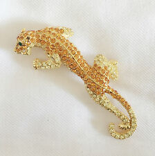 New Golden Good Fortune Leopard Panthera African Crystal Brooch Pin BR1151