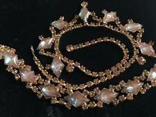 VINTAGE SAPHIRET DEMI PARURE BIG NECKLACE & BRACELET SET MAGIC GLASS GOLD STONE