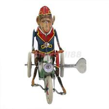 Retro Wind Up Monkey Riding a Car Funny Clockwork Tin Toy Collectible/Gifts