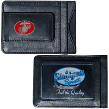 U.S. Marine Corps Fine Leather Money Clip ID Card Cash Holder Wallet Military