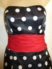 Sherri Hill 4 Mini Dress Black White Red Polka Dot Minnie Mouse Prom Formal CHIC