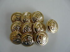 10 x GOLD COLOURED METAL ANCHOR BUTTONS SIZE 32 (20mm)