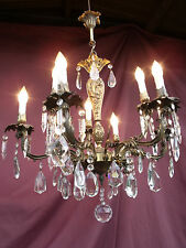 @SUPERBE VINTAGE FRENCH 9 LIGHTS CHANDELIER WITH BOHEMIAN DROPS ! MAGNIFIQUE !