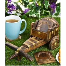 Wooden Tea Coffee Coaster Set Bullock cart shape Office Home decor Dining Table