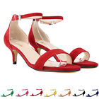 Ladies Suede Lower Middle Heels Work Casual Court Shoes Strap Sandals Size 2-9