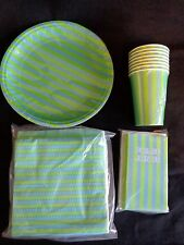 Party Tableware Set Paper Plates Napkins Cups Invites GREEN STRIPES 8 Guests