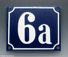 EMAILLE, EMAIL-HAUSNUMMER 6a in BLAU/WEISS um 1960