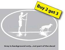 Male on Paddle Board with Dog SUP Always uo for a good paddling Decal Sticker