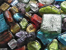 Foil Glass Beads Mix Many Colors, Shapes & Sizes QUARTER POUND BAG 36 - 48 Beads