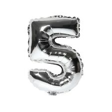 """40"""" Metallic Silver Glossy Five Year Old Birthday Party Number 5 Float Balloon"""