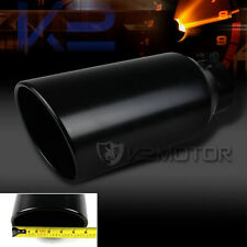 """Black Stainless Steel Roll Edge Truck Exhaust Tip 4"""" Inlet Tip/6"""" Outlet"""