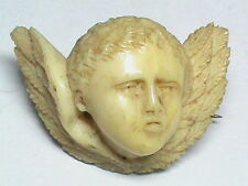 Antique Victorian carved Bone Winged Cherub Cupid Brooch