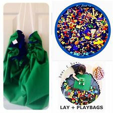 GREEN BLUE KIDS Boys CHRISTMAS PRESENT GIFT LAY-N-PLAY TOY BAG Lego Mat Storage