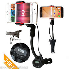 3in1 Handfree Car Smartphone Mount USB Cigarette Lighter Charger FM Transmitter