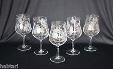 5 große Weingläser Kelche Trauben-Dekor Ätzgravur Glaskunst Hirtreiter Bayern