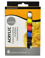 Daler Rowney Simply Acrylic Paint Set - 6 x 12ml Tubes - Neon Colours