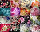 100% Silk scarf shawl wrap 18x62 Floral flowers Red Turquoise Black Pink Navy US