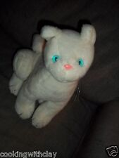 PLUSH DOLL FIGURE VINTAGE  SMILE  1983 WHITE  BLUE EYED CAT PINK NOSE TOY