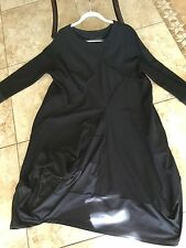 MOYURU from Japan ponti woven all over  seamed bubble bottom tunic dress blk L