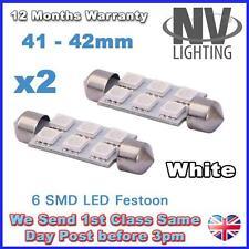 2x Festoon Bulb 41mm 6 SMD LED 5050 White Courtesy Number plate Light