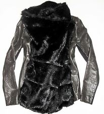 Small HELMUT LANG Black Fur & Pebbled Leather Asymmetric Jacket