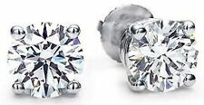 0.60 carat Round DIAMOND STUD Earrings 14k White Gold F-G SI2 #e51