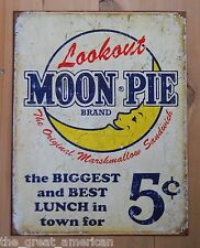 Lookout MOON PIE Biggest & Best Lunch in Town $0.05 Vintage Tin Sign Made in USA