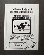 H799- Advertising Pubblicità -1981- TV DEL JOLLY,PROGRAMMI PER SETTE SERE