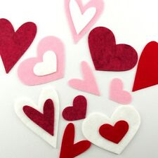 16 Heart Wool Blend Felt Die Cut Appliques - Queen of Hearts