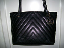 Auth. CHANEL vintage black Chevron caviar leather tote