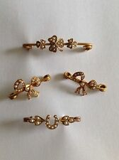 Delightful Victorian 9ct Gold & Seed Pearl Set Brooches