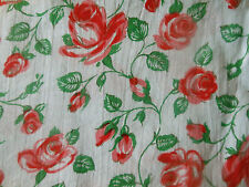 Vintage French Roses Cotton Fabric ~ Red Green White
