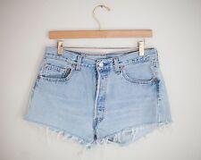 Vintage LEVI'S Light/Medium Wash High Waisted Cut Offs Cuffed Denim Shorts 31/32