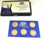 1999 US Mint 50 State Quarters Proof Set - S Proof- COA-1st 5 States- In Box