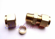 "8mm =5/16"" BRASS STRAIGHT COMPRESSION CONNECTOR JOIN LPG GAS PIPE FITTING OLIVES"