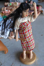 "Vintage 1960s Cloth Wire Black Hair Ethnic Character Girl Doll 8 1/2"" Tall"