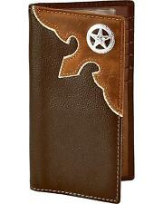 Nocona Leather Overlay Star Concho Wallet Checkbook Brown One Size