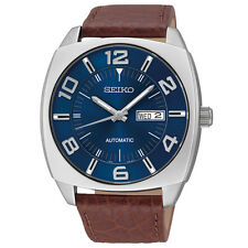 Mens Seiko SNKN37 Automatic Recraft Brown Leather Blue Dial Date Watch