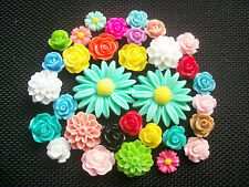 30 Assorted Flower Cabochons Flatbacks Roses and Daisies