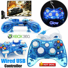 Resplandor azul USB con Cable Videojuegos Controlador Para Microsoft Xbox 360 Windows Laptop PC