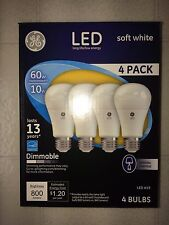 4 PACK GE LED 60W = 10W Soft White Dimmable 60 Watt Equivalent A19 2700K bulbs