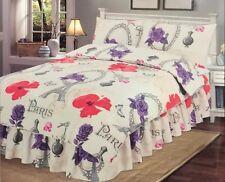 NEW Double SIZE BED 'Paris Red' Duvet Cover & Pillow Case Bedding Set